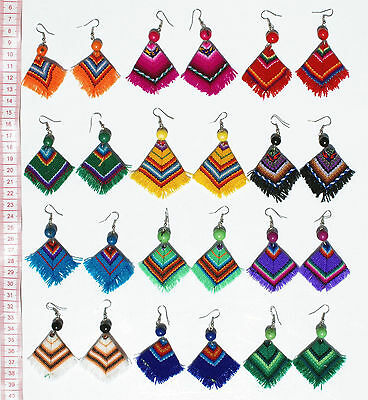 Lot 10 Pairs Alpaca Wool Poncho Style Earrings Handcrafted Peruvian Jewelry Art