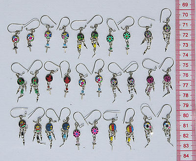 Lot 12 Pairs Small Dangle Earrings Handcrafted Peruvian Ornament Jewelry Crafts