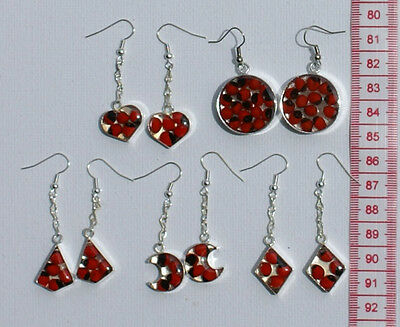 Lot 3 Pairs Peruvian Huayruro Red Seed Tribal Earrings Hand Crafted Jewelry Art