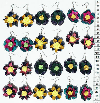 Lot 7 Pairs Dangle Colored Leather Flower Peruvian Earrings Homemade Jewelry Art