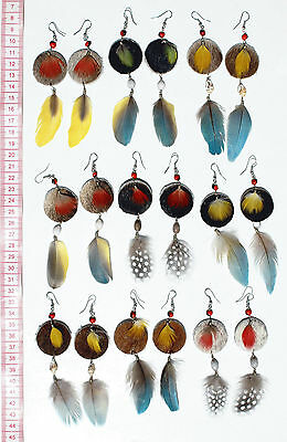 Lot 7 Pairs Round Leather Colored Feather Earrings Buy Homemade Peruvian Jewelry