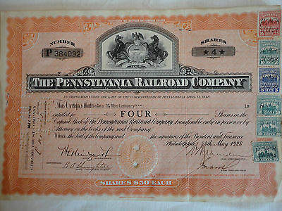1928 Pennsylvania Railroad Co. Stock Certificate with Indiana tax stamps