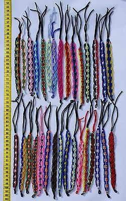 Lot 35 Macrame Friendship Bracelets Round Ornament Hand Woven Peruvian Colored