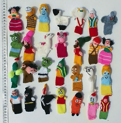 Lot 100 Finger Puppets Dolls Hand Knit Animals and Peruvian Folk Art, Wholesale