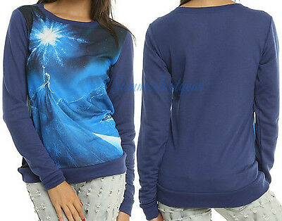 Queen Elsa Ice Dancing~Disney Frozen~Juniors Long Sleeve Pull Over Top Free Ship