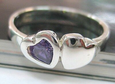 REAL sterling silver Children kid PURPLE cz DOUBLE full HEART ring - 925 STAMPED