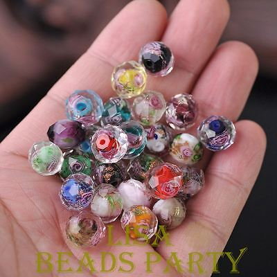 10pcs 12mm Flowers Faceted Rondelle Lampwork Glass Crystal Findings Loose Beads