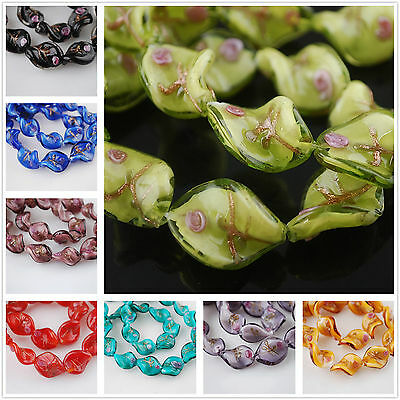 10pcs 18x14mm Helix Twisted Lampwork Glass Jewelry Findings Loose Spacer Beads