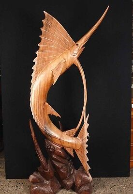 French Hand Carved Marlin Fish Statue Sculpture