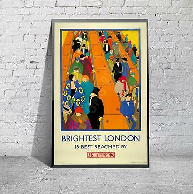 Vintage Brightest London Underground Tourism Travel Poster Print Picture A3 A4