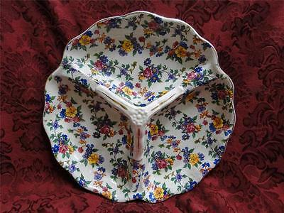 Erphila Warwick Cheery Chintz, Gray Lines, Gold Trim: 3 Part Dish