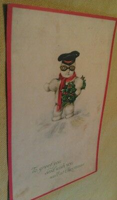 Old Christmas Cute Snowman Motorcycle Hat & Goggles Postcard Repo Set Of Two