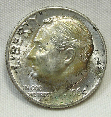 1964-D 10C Roosevelt Dime, SILVER, TONED, UNCIRCULATED, #506