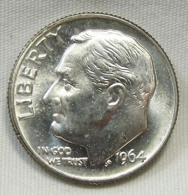 1964-D 10C Roosevelt Dime, SILVER, TONED, UNCIRCULATED, #507