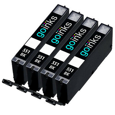 4 Black Ink Cartridges to replace Canon CLI-551Bk (CLI551Bk) Compatible