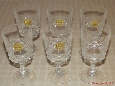Set of 6 Cristal d'Arques Glass Cordials Genuine 24% Lead Crystal Garanti France