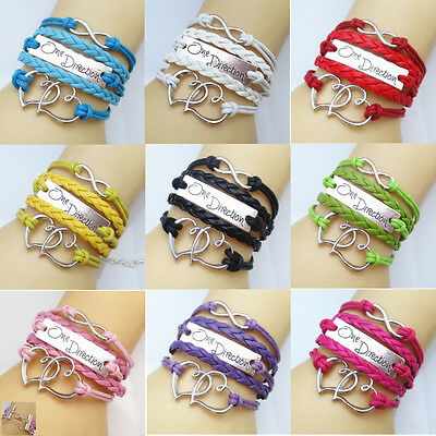 New DIY Jewelry Fashion Lots Style Leather Cute Infinity Charm Bracelet Heart