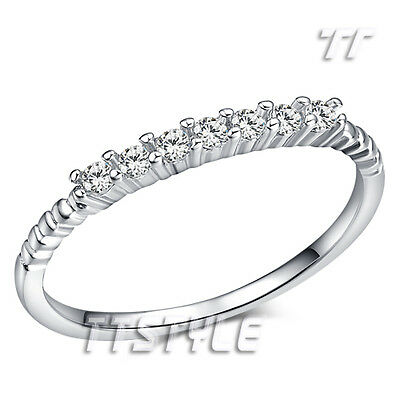 Cute TTstyle RHODIUM 925 Sterling Silver Engagement Wedding Ring Size 3.5-7