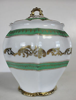 Royal Austria porcelain biscut jar urn gold trim