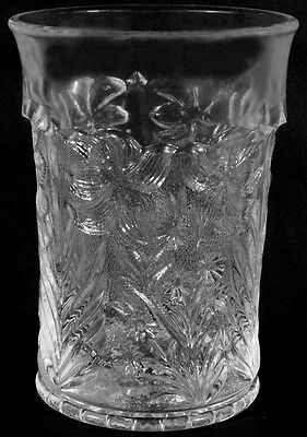 Vintage L.E. Smith Glass Company Clear Crystal Dogwood Pattern 8oz. Flat Tumbler