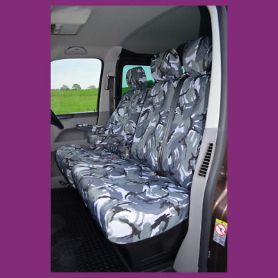 VW Transporter T5 T6 T26 T28 T30 T32 Tailored Seat Covers 2010+ Grey Camouflage
