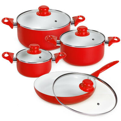 8 piece ceramic cooking pots lids pan pot saucepan cookware set red