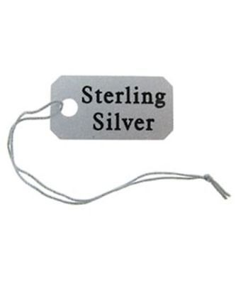 "1000 Sterling Silver Printed Plastic Jewelry String Tags 1/2"" x 1"""