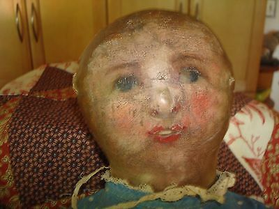 Beautiful old painted face rag doll with tiny teeth!