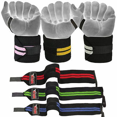 """Power Weight Lifting Gym Training Bandages Fitness Straps Long Wrist Wraps 18"""""""