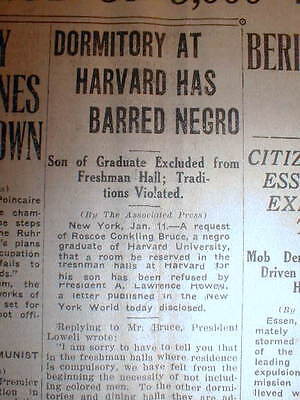 1923 newspaper HARVARD UNIVERSITY BANS NEGRO STUDENT from living inIts DORMATORY