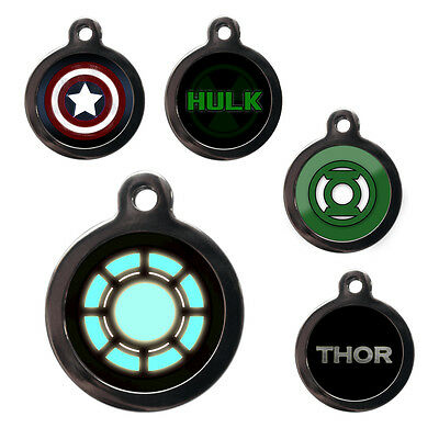Pet ID Tags Personalised Superhero Dog Cat Name Tag Disc Identity Engraved FREE
