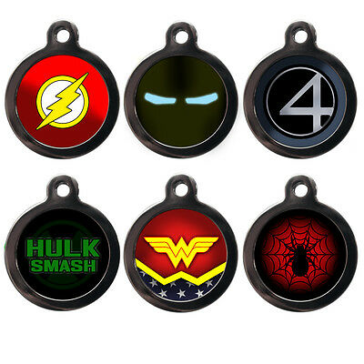 Personalised Pet ID Tags Superhero Dog Cat Name Tag Disc Identity Engraved FREE