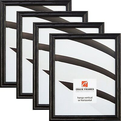 """Craig Frames Various 0.75"""" Black Wood Traditional Picture Frame 4-Piece Wall Set"""