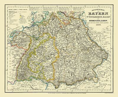 Old Germany Map - Bavaria Province - Bibliographisches Institut 1841 - 23 x 27