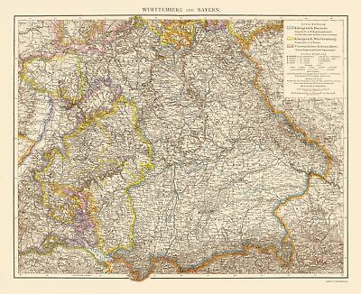 Old Germany Map - Wurtemberg and Bavaria - Times London 1895 - 23 x 28.19