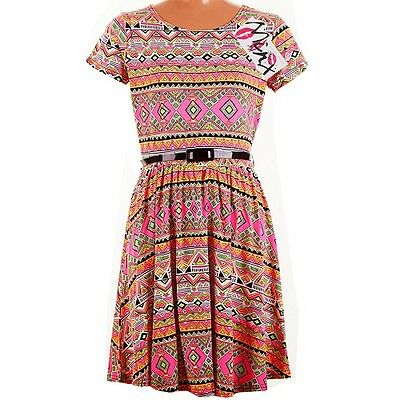 Girls Kids Neon Aztec Skater Dress Party Summer Pink Belt Age 7 8 9 10 11 12 13