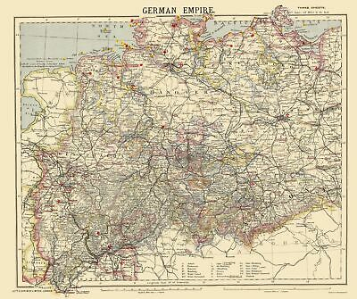 Old Germany Map - German Empire 1 - Letts 1883 - 23 x 27.45