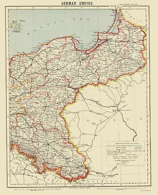 Old Germany Map - German Empire 2 - Letts 1883 - 23 x 28.27