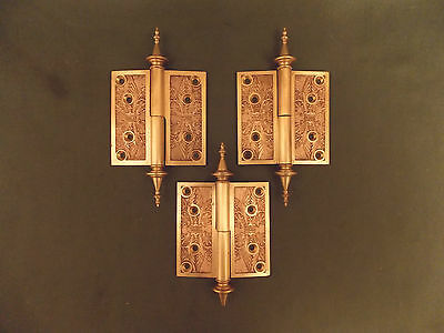 Antique Russell & Erwin Classic Design Cast Bronze Hinge Set c.1879, LH Swing.