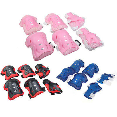 Kids Cycling Roller Skating Knee Elbow Wrist Guard Protective Pad 3 Colors