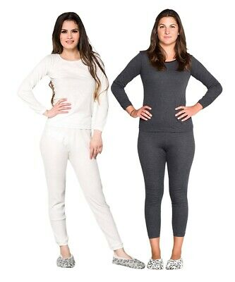 Thermals Ladies Wool Blend Thermal Underwear 2pc Set Black / Beige  Size 8-22