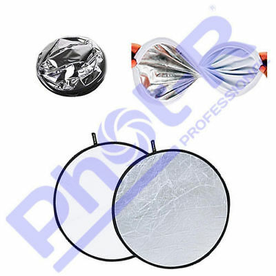 """Phot-R 56cm/22"""" 2in1 Silver & White Studio Collapsible Circular Reflectors +Case"""