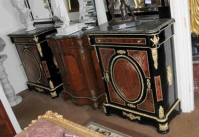Pair Boulle Credenzas Cabinets French Sideboard Louis XV Inlay