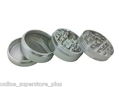2.0 Silver Crusher Herb Grinder Tobacco Spice Heavy Zinc Alloy Lifetime Warranty