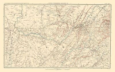 CIVIL WAR MAP Print - Southeastern United States -Bien 1895 ...