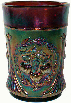 1910s Dugan Purple Amethyst Carnival Glass Wreathed Cherry Pattern Tumbler As-Is