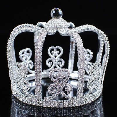 Stunning King Hair Tiara Crowns Clear Austrian Rhinestone Pageant Party Costumes