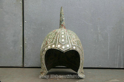 China old bronze inlay silver martial war armet Mask