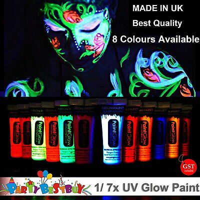 1/ 8x UV Glow Neon Face Body Paint 10ml Black light Fluoro Party Glow in dark