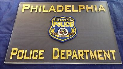 "Philadelphia Police Department Acrylic Beveled Signage w Patch 14""X10""X.25"""